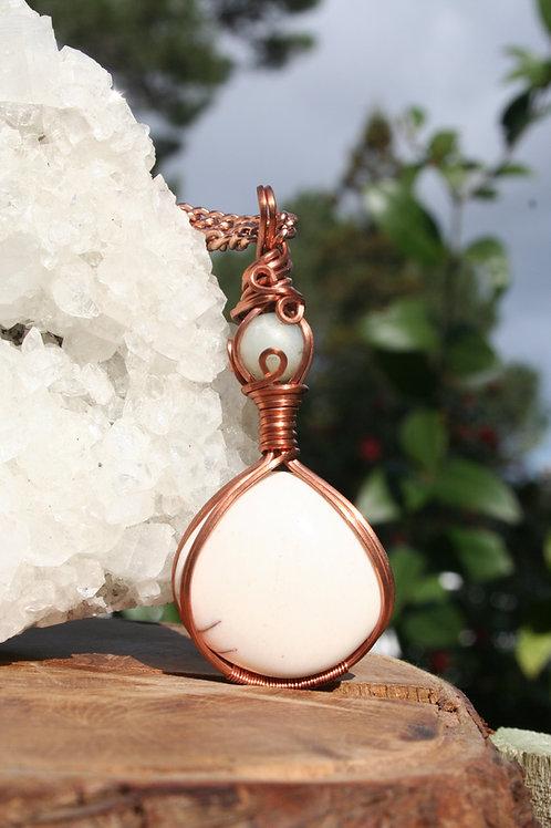 Amazonite & Jasper Amulet in Copper