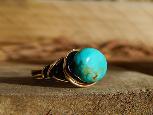 Turquoise Ring in 12k Gold Fill & Black Copper