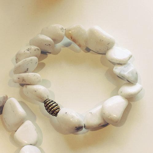 White Mountain Jade Chunky Stretchy Bracelet