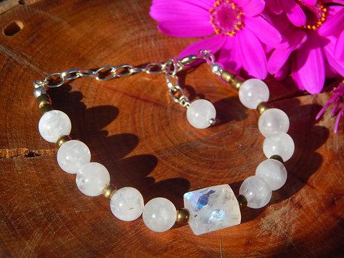 Rainbow Moonstone Bracelet - Crown Chakra