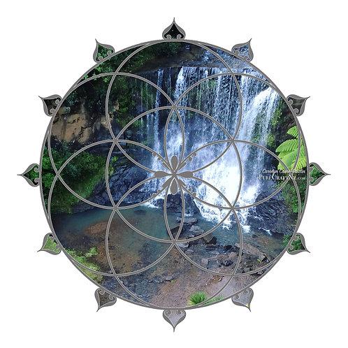 Waterfall Seed of Life Crystal Grid - Grey