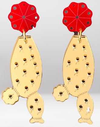 Nopales- Gold & Red acrylic