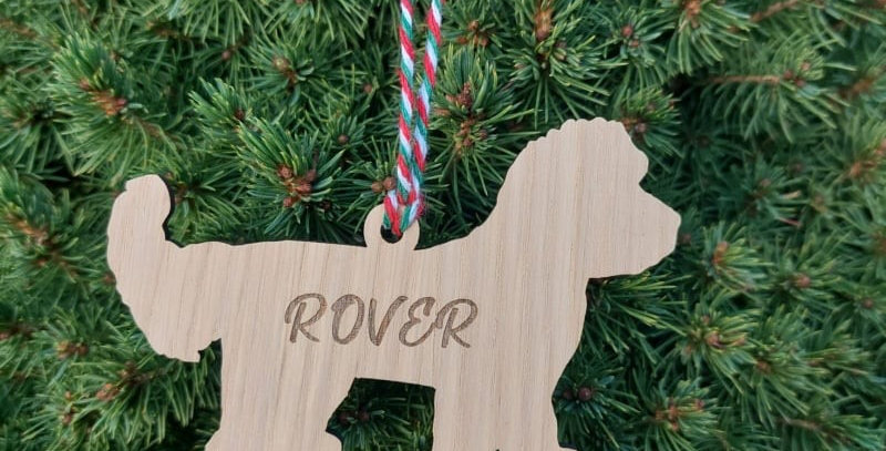 Personalised Oak Christmas Dog Breed Pet Decoration