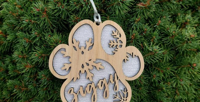 Personalised Oak Christmas Paw Decoration