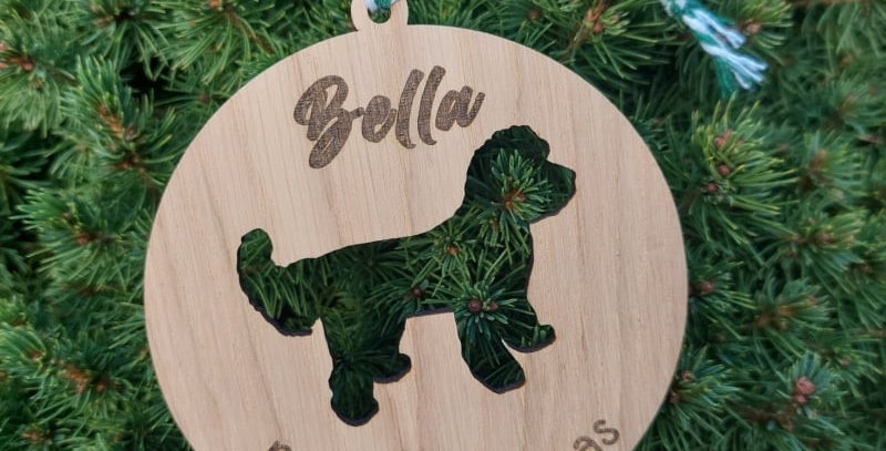 Personalised Oak Christmas Pet Decoration Circular - Dog Breed Cut out