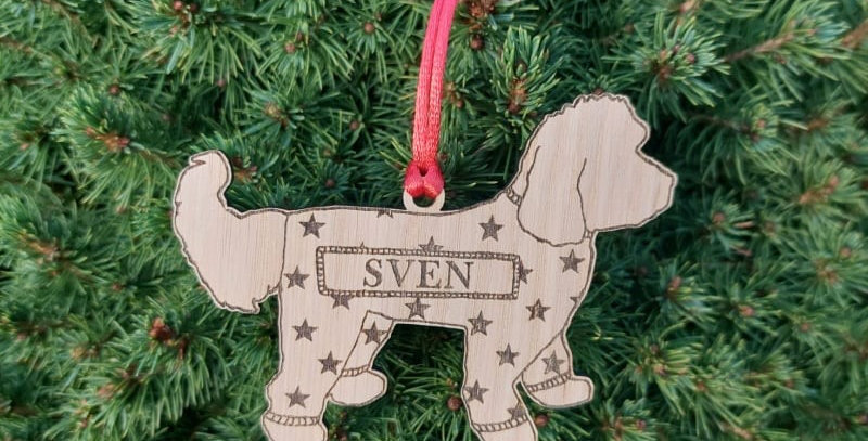 Personalised Oak Christmas Dog Breed Pet Decoration with Onesie