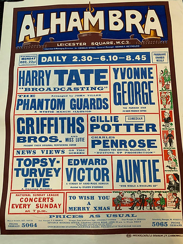 Edward Victor - Alhambra Theatre Playbill Poster
