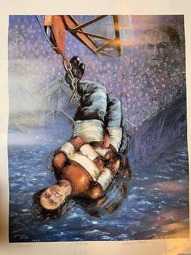 Harry Houdini Upside Down Escape Ltd Edt Print by James Hollin