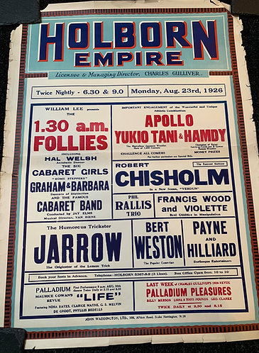 JARROW - Holborn Empire, London 1926