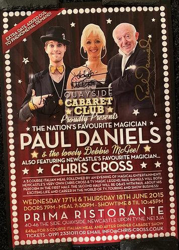 PAUL DANIELS / DEBBIE MCGEE / CHRIS CROSS SIGNED A3 2015 Show Poster