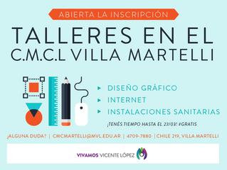 TALLERES - #CMCLVilla Martelli - Abierta la inscripción