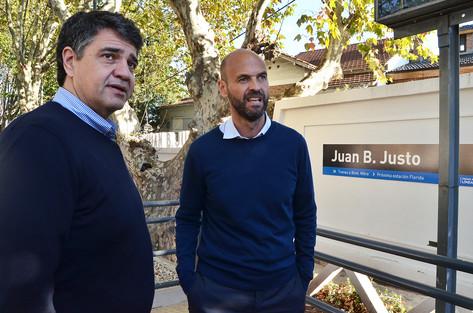 Jorge Macri junto a Guillermo Dietrich recorrieron las obras de la estación Juan B. Justo
