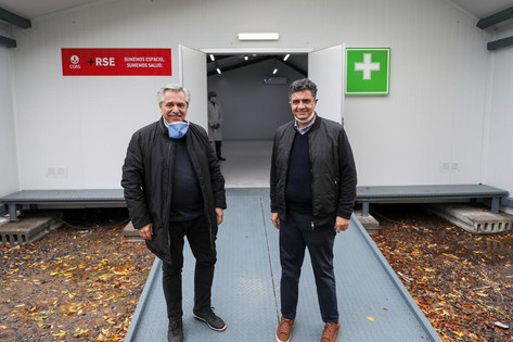 Jorge Macri y Alberto Fernández recorrieron la finalización de obras del Hospital de Campaña en Camp