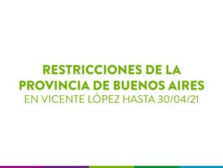 NUEVAS RESTRICCIONES - Hasta el 30/04