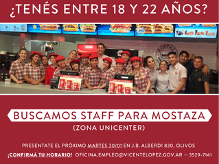 Oficina de Empleo / ¡Estamos buscando staff para MOSTAZA!