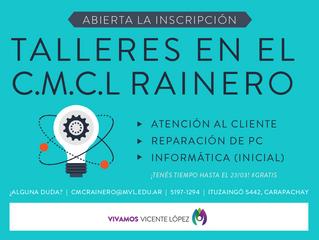 TALLERES - #CMCLRainero - Abierta la inscripción