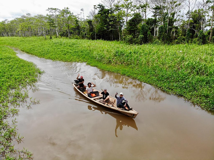 Sailing through flooded jungle in The Amazon.