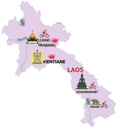 Lao Country Map Showing Major Cities