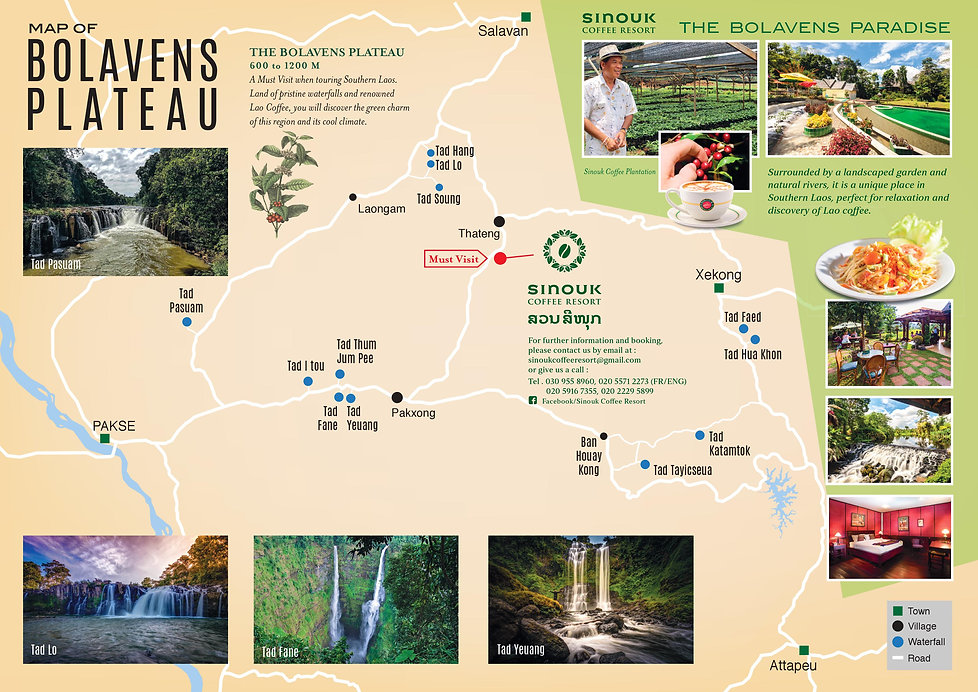 Map of the Bolaven Plateau Laos