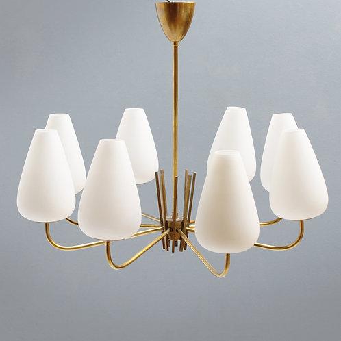 Stilnovo style Chandelier In Brass and Opaline Glass