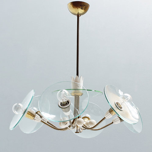 Six-Lights Chandelier by Pietro Chiesa, Italy