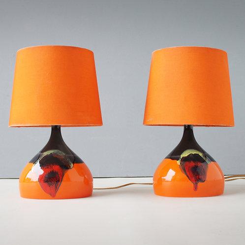Pair of Ceramic Table Lights by Bjorn Wiinblad, Denmark