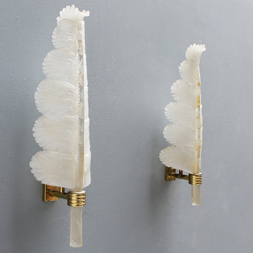 Pair of vintage Barovier e Toso Palm Leaf Sconces