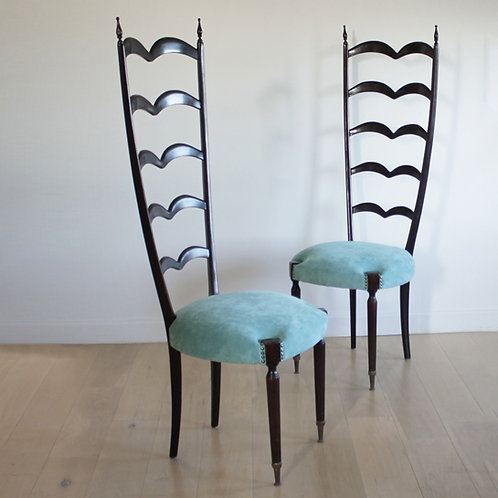 Pair Ladder Back Chairs by Paolo Buffa, Italy