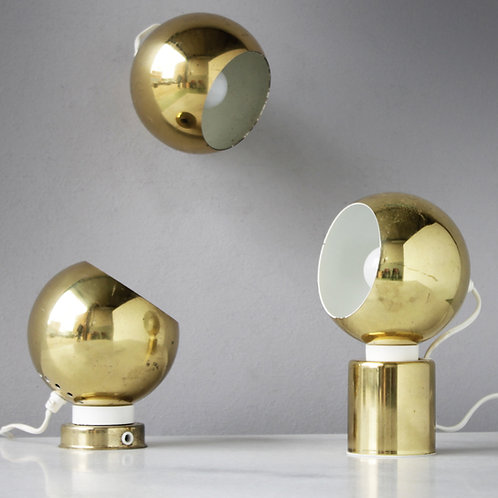 Three (3) Magnetic Brass Ball Lights by Reggiani