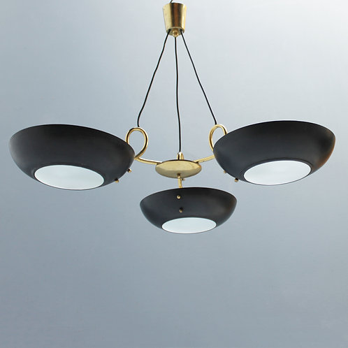 Three-Light Italian Chandelier in the manner of Stilnovo