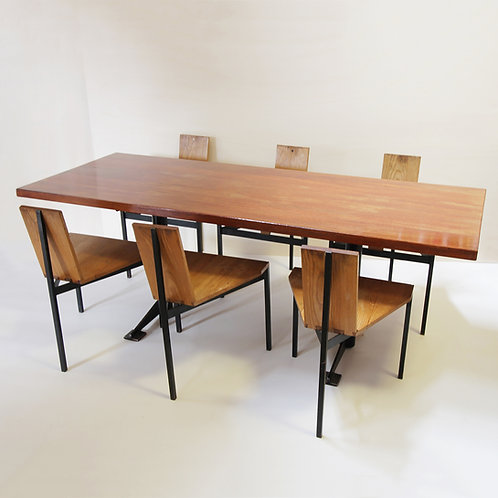 Dining Table and six (6) Chairs by Wim den Boon, Netherlands 1958