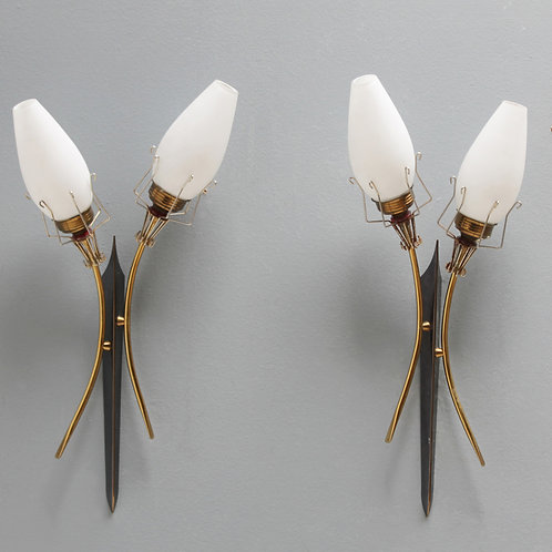 Pair of French Torch Wall Lights Attributed by Maison Arlus