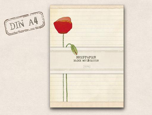 Briefpapierblock Mohn