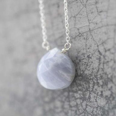 Göttliche blaue Spitze Achat Silber Halskette
