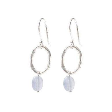 Graceful Blauer Achat Silber Ohrringe