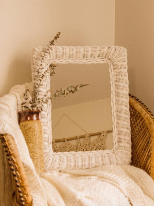 Miroir blanc en osier