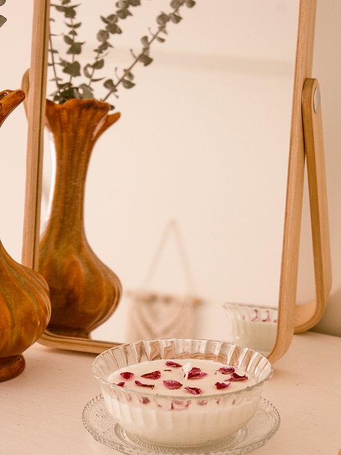 Bougie de soya et orchidées