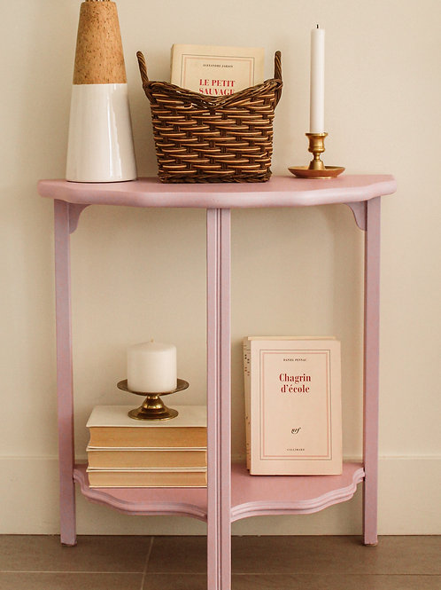 Petite table relookée lilas