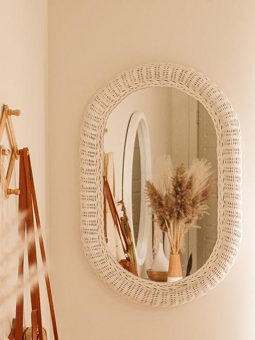 Grand miroir en osier blanc