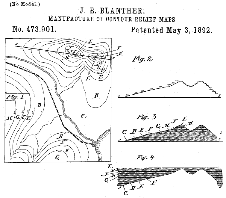 Blanther Patent for Contour Relief Maps