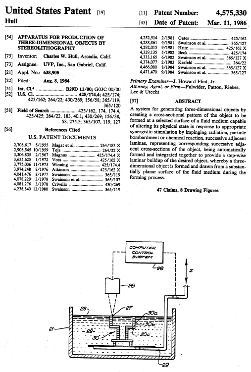 Hull Patent for Stereolithography
