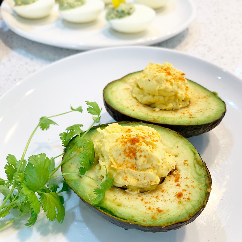 Avocado stuffed with devilled egg