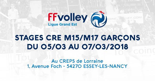 STAGES CRE M15/M17 GARÇONS AU CREPS DE LORRAINE