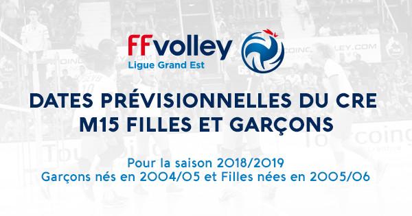 PLANNING STAGES CRE M15 POUR LA SAISON 2018/2019