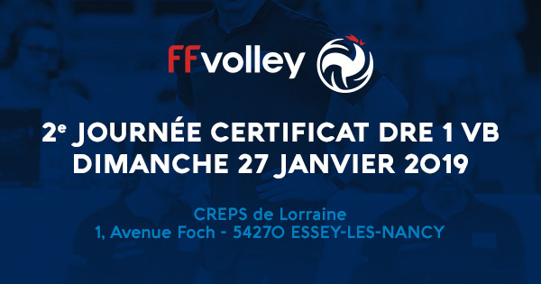FORMATION AU CERTIFICAT D'ANIMATEUR DU DRE 1 VOLLEY-BALL