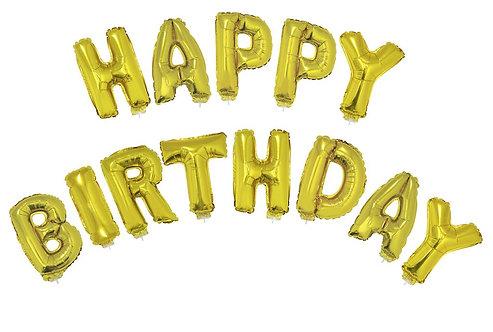 """Happy Birthday"" Gold Balloon"