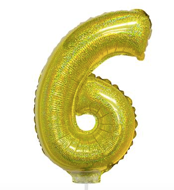 GOLD BALLOON N°6 WITH STICK