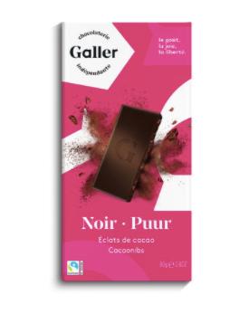 GALLER Tablette Noir Pur Eclats de Cacao 80GR