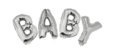 BALLOON SET BABY SILVER WITH RIBBON 5M