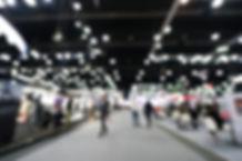 Blurred, defocused background of public